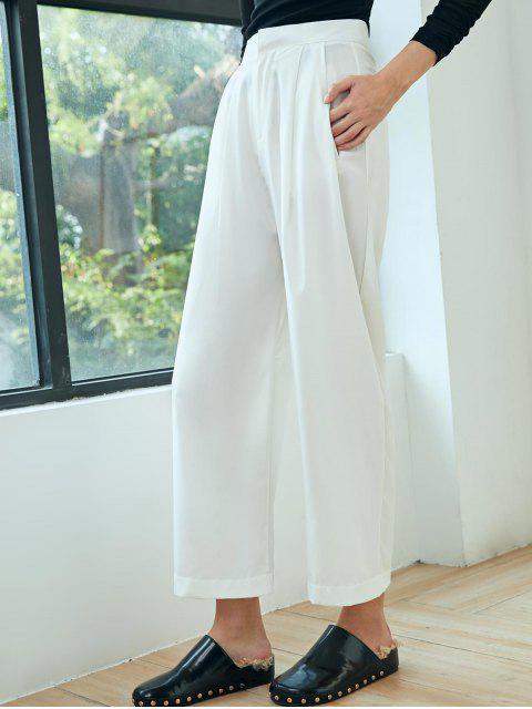 百褶細節寬腿褲 - 白色 L Mobile