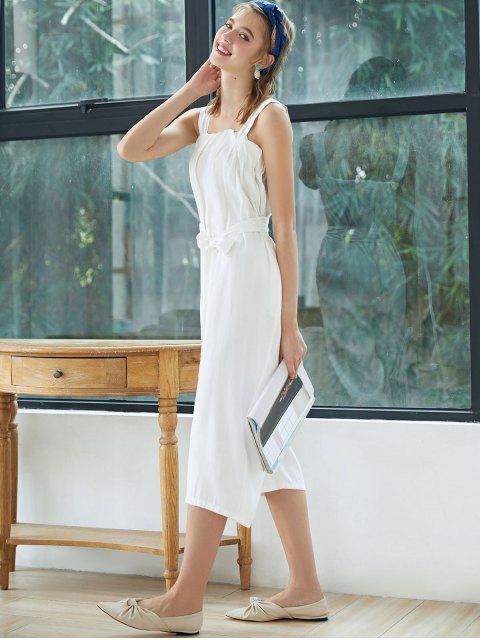 束帶方領闊腿連身褲 - 白色 M Mobile