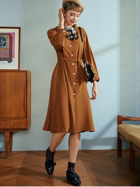 Robe Ceinturée Boutonnée en Couleur Unie avec Fente Latérale - Chocolat Taille Unique Mobile