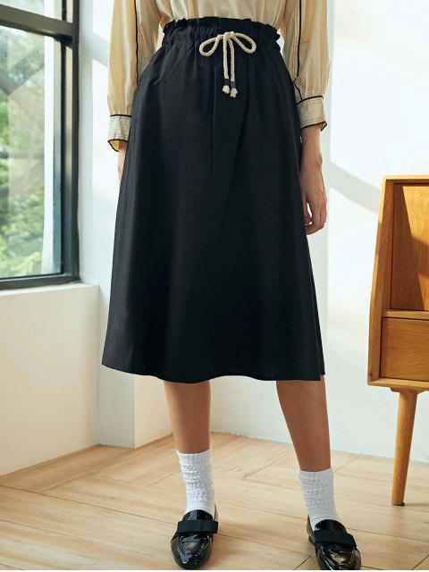 Cordón de algodón una falda de línea - Negro Talla única Mobile