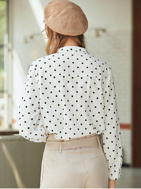 hot Pussy Bow Polka Dot Shirt - WHITE L Mobile