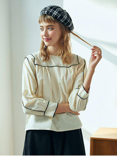 fashion Topstitching Peasant Blouse - CORNSILK ONE SIZE Mobile