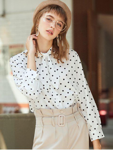 affordable Pussy Bow Polka Dot Shirt - WHITE M Mobile