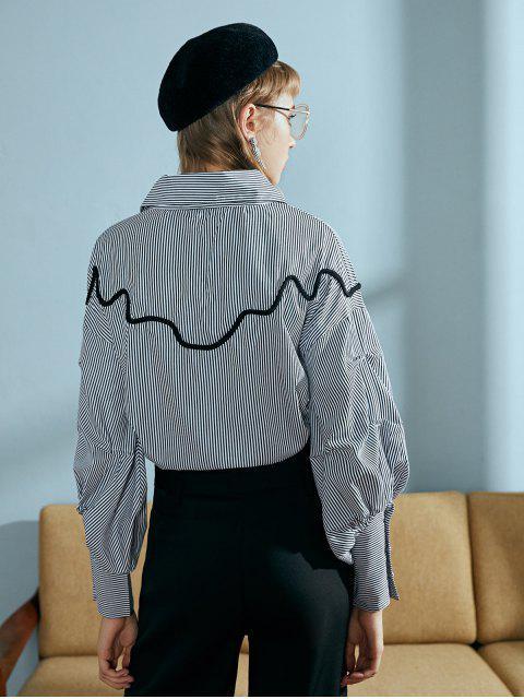 條紋燈籠袖束腰寬鬆的短上衣 - 多-B S Mobile