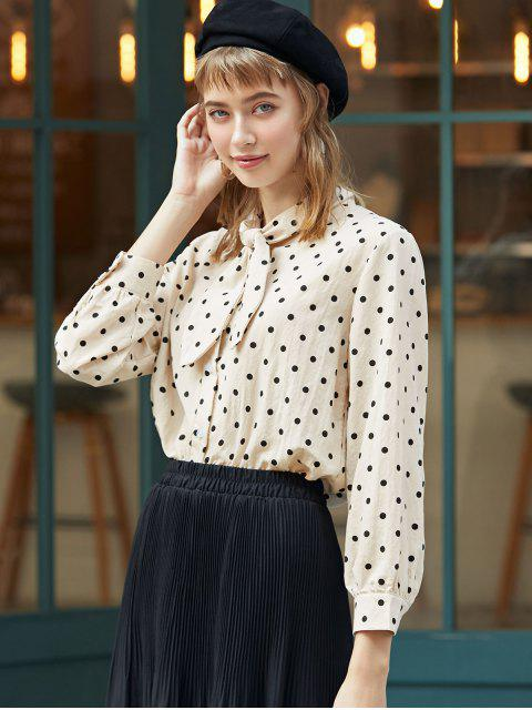 hot Pussy Bow Polka Dot Shirt - APRICOT M Mobile
