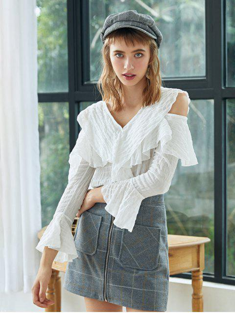 outfits Button Up Ruffles Cold Shoulder Top - WHITE ONE SIZE Mobile