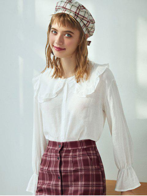 buy Ruffle Trumpet Sleeve Crinkly Blouse - WHITE L Mobile