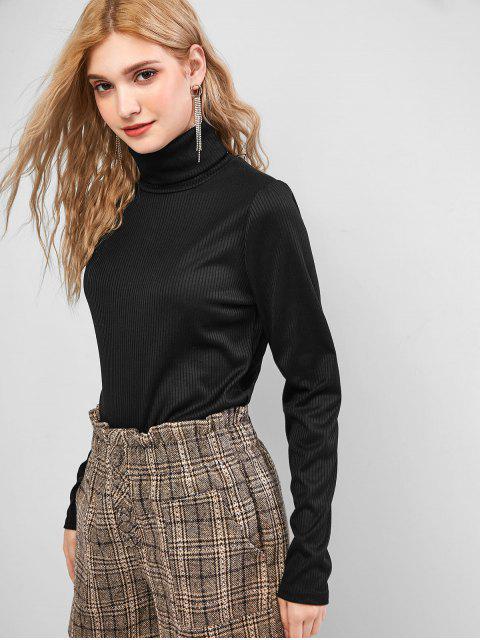 固體羅紋領針織衫 - 黑色 S Mobile