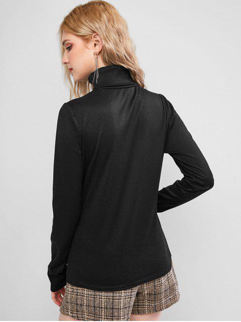 固體羅紋領針織衫 - 黑色 L Mobile