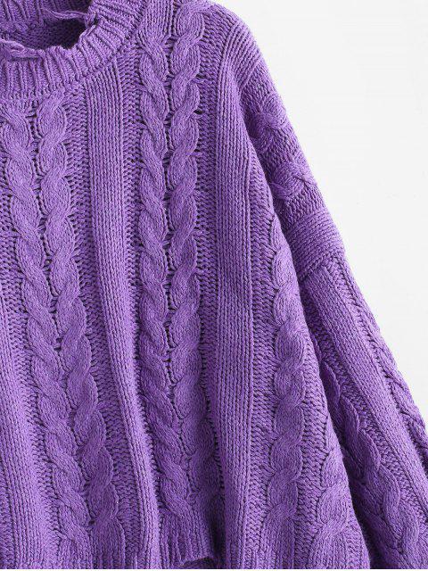 圓領磨損的麻花針織毛衣 - 紫色 One Size Mobile
