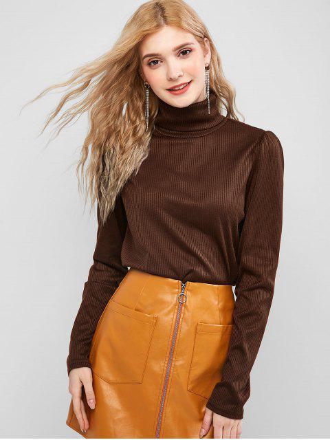 固體羅紋領針織衫 - 棕色 S Mobile