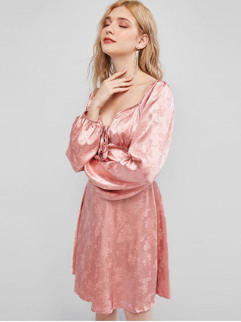 ZAFUL花卉提花甜心迷你連衣裙 - 粉紅玫瑰 M Mobile