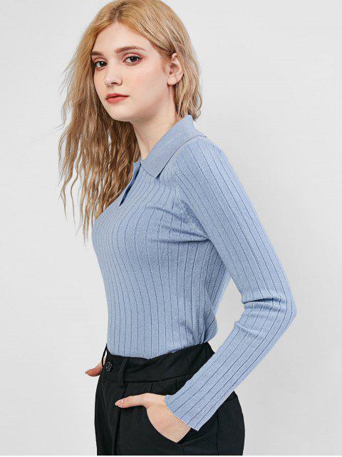Einfarbiger Halb Knopf Jumper Pullover - Blaugrau Eine Größe Mobile