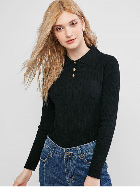 women's Solid Half Buttoned Jumper Sweater - BLACK ONE SIZE Mobile