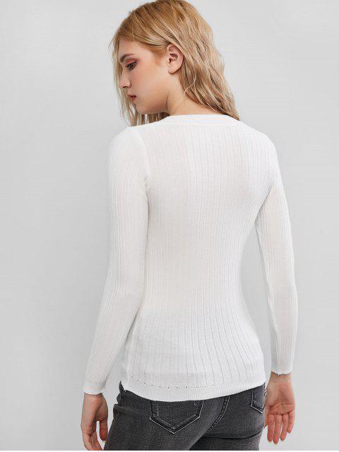 Slim Halb Knopf Pullover mit Rundhalsausschnitt - Weiß Eine Größe Mobile