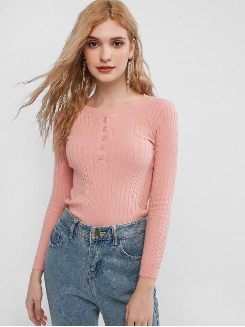 shops Slim Half Buttoned Crew Neck Jumper Sweater - PINK ONE SIZE Mobile