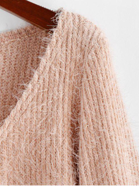 unique ZAFUL Fluffy Ruched Cropped Sweater - ROSE S Mobile