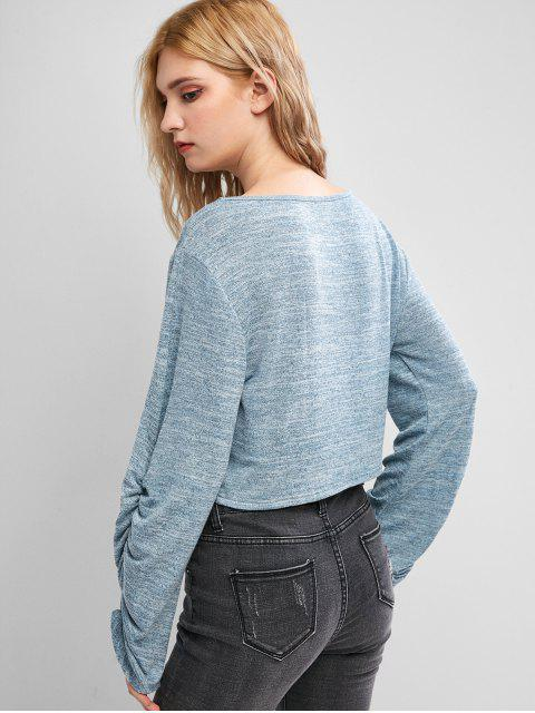 ZAFUL聚集袖套頭衫Heathered針織品 - 藍灰色 M Mobile