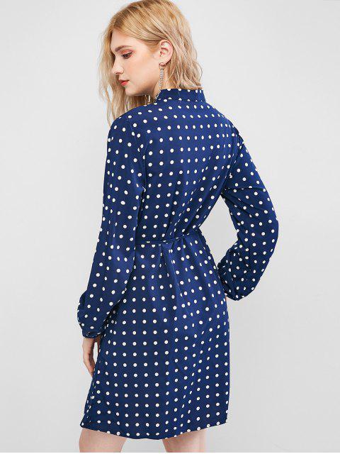 chic Polka Dot Button Placket Shirt Dress - DEEP BLUE L Mobile