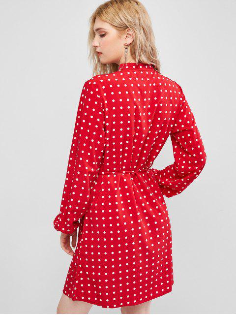圓點按鈕門襟襯衫裙 - 紅 L Mobile