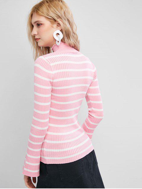 荷葉領喇叭袖修身條紋毛衣 - 粉 One Size Mobile