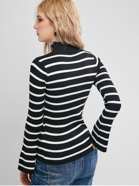 荷葉領喇叭袖修身條紋毛衣 - 黑色 One Size Mobile