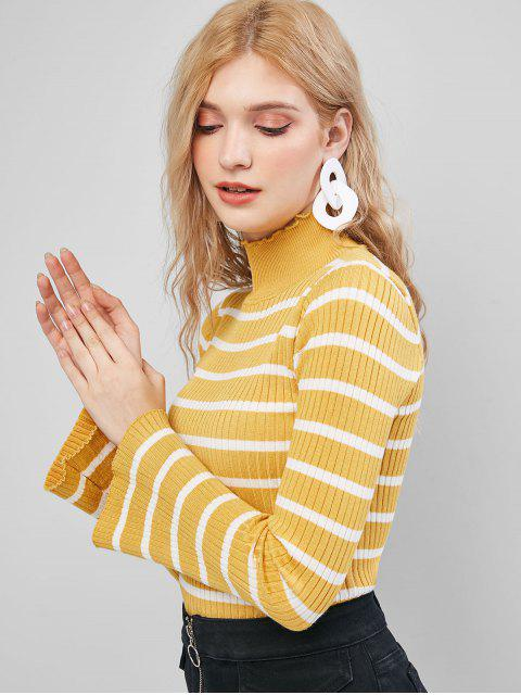荷葉領喇叭袖修身條紋毛衣 - 黃色 One Size Mobile