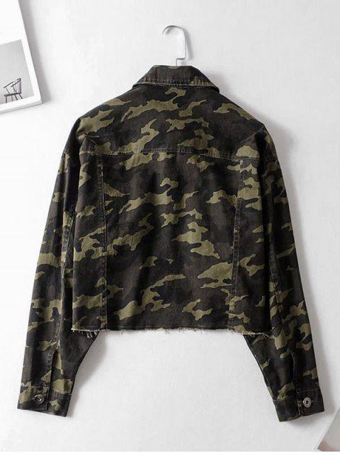online Camouflage Button Up Frayed Hem Jacket - ACU CAMOUFLAGE L Mobile
