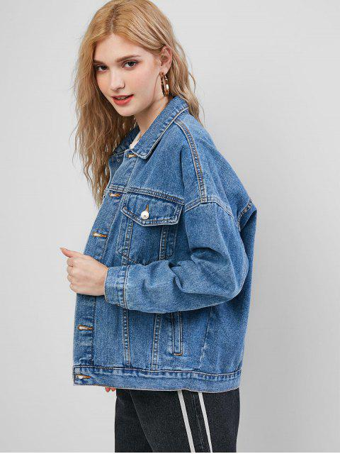 lady Beauty Print Ripped Denim Jacket - BLUE XS Mobile