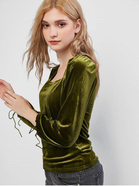 online Velvet Square Neck Tie Cuff Top - FERN GREEN XL Mobile