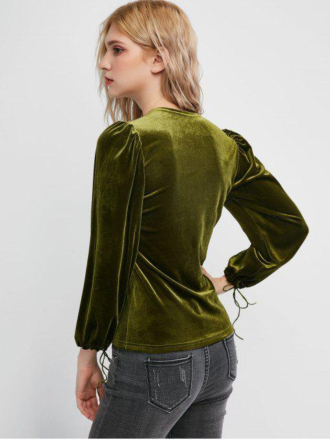 online Velvet Square Neck Tie Cuff Top - FERN GREEN L Mobile