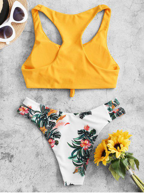 ZAFUL Maillot de Bain Bikini Noué Plante Imprimée au Dos Nageur - Jaune Canard Caoutchouc M Mobile