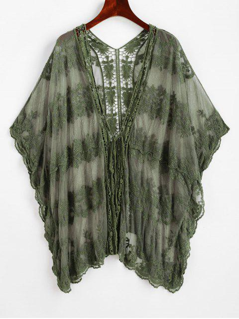 online Embroidered Mesh Beach Cover-up - CAMOUFLAGE GREEN ONE SIZE Mobile