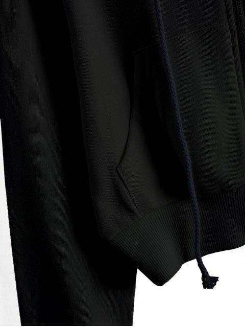 ReißverschlusstaschenCropEinfarbigeHoodie - Schwarz XL Mobile