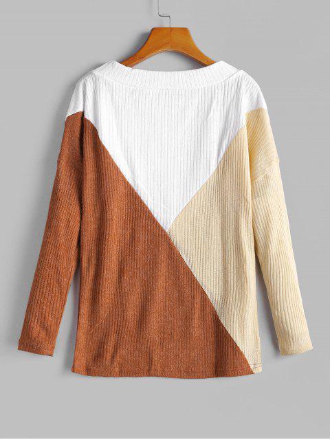 ladies Colorblock Drop Shoulder Crew Neck Knitwear - MULTI-A S Mobile
