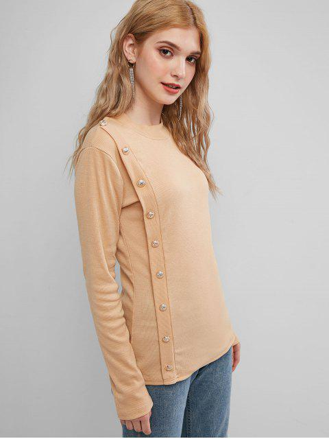 unique Solid Mock Buttons Ribbed Knitwear - KHAKI S Mobile