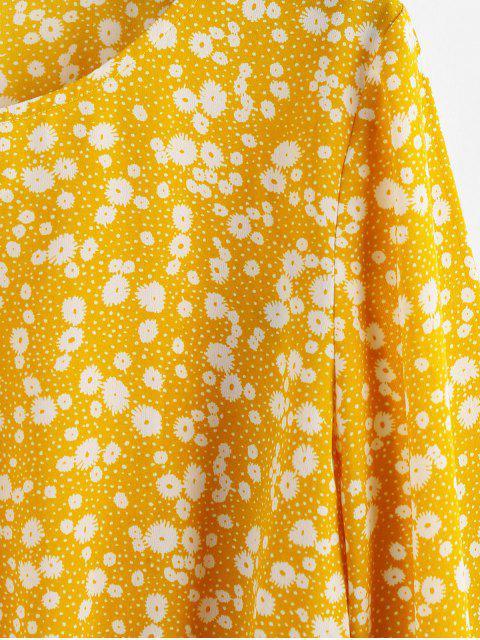 fashion ZAFUL Ditsy Print Drawstring Waist Peplum Blouse - RUBBER DUCKY YELLOW L Mobile
