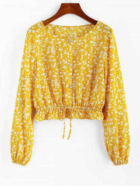 ZAFUL Blusa de Peplum con Cordón en Cintura Alta - Caucho Ducky Amarillo S Mobile