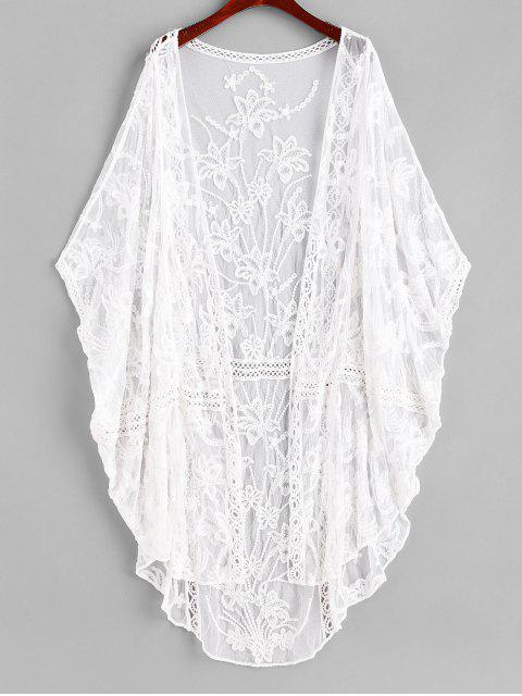 affordable Embroidered Sheer Mesh Batwing Beach Cover-up - WHITE ONE SIZE Mobile