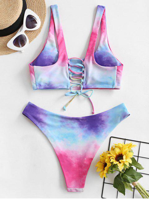 ladies ZAFUL Tie Dye Cutout Lace-up Bikini Swimsuit - HOT PINK S Mobile