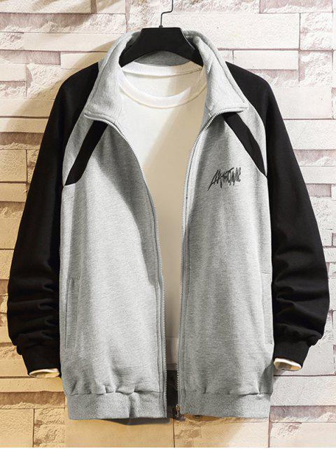 outfit Letter Print Color Blocking Spliced Raglan Sleeve Jacket - GRAY 4XL Mobile