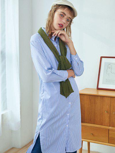 Robe Chemise Fendue Boutonnée Rayée Avec Poche Poitrine - Bleu De Ciel  S