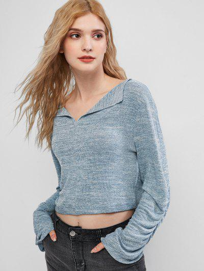 ZAFUL Gathered Sleeve Heathered Pullover Knitwear - Blue Gray S