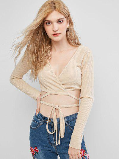 ZAFUL Ribbed Crop Wrap Knitwear - Camel Brown Xl