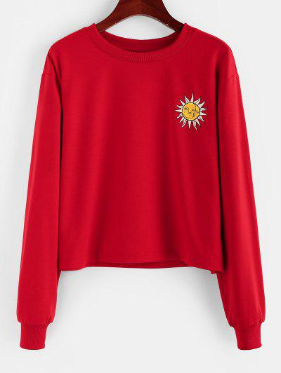 ZAFUL Sun Print Graphic Sweatshirt - Red M