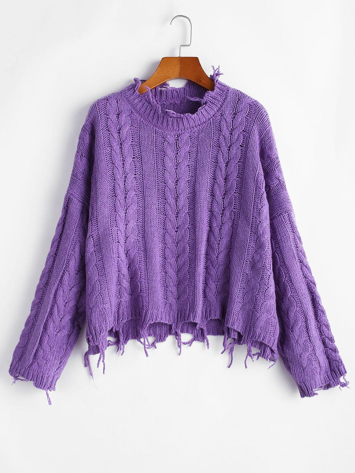 Crew Neck Frayed Cable Knit Sweater