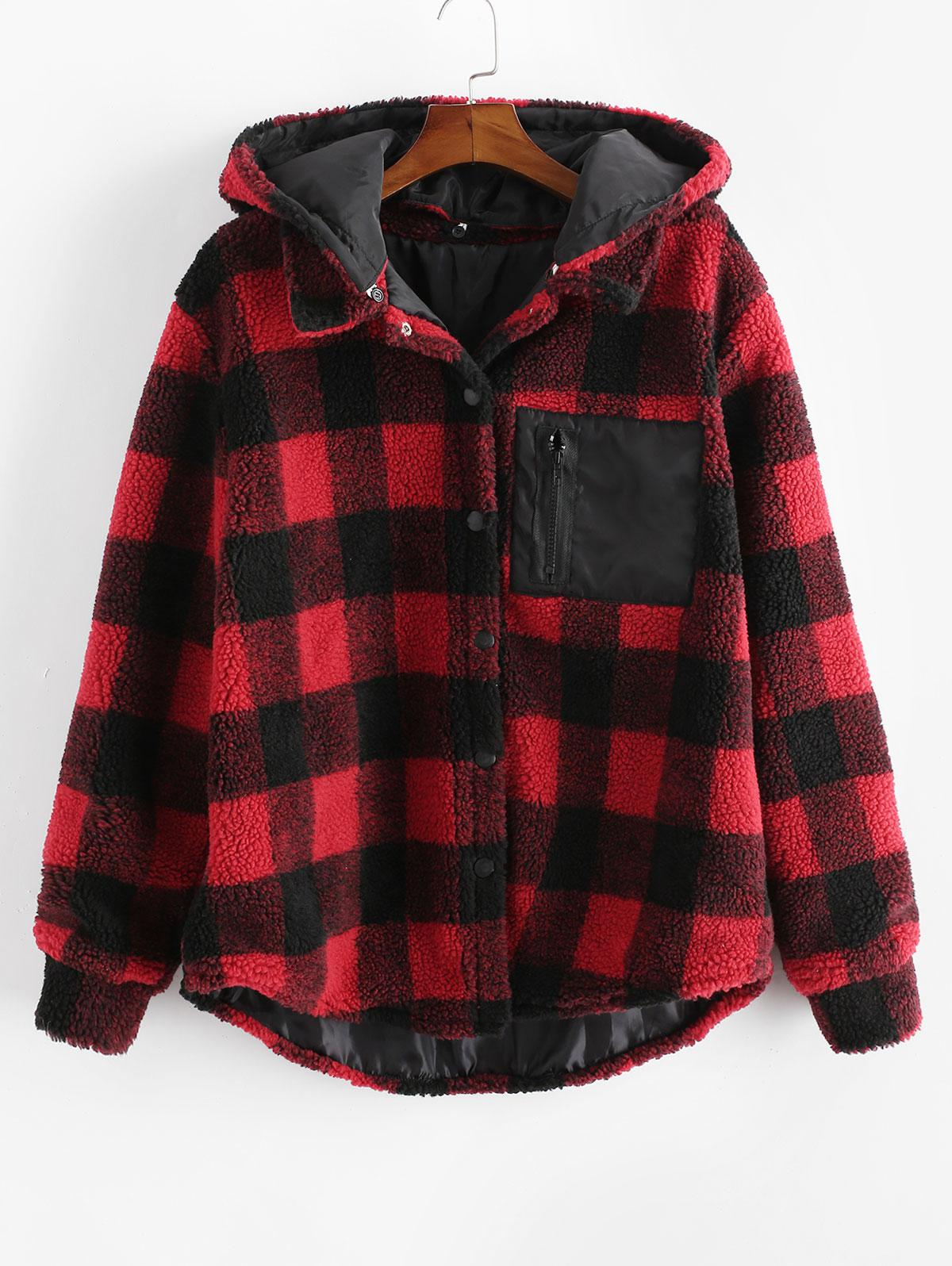Plaid Pattern Button Up Casual Hooded Jacket фото