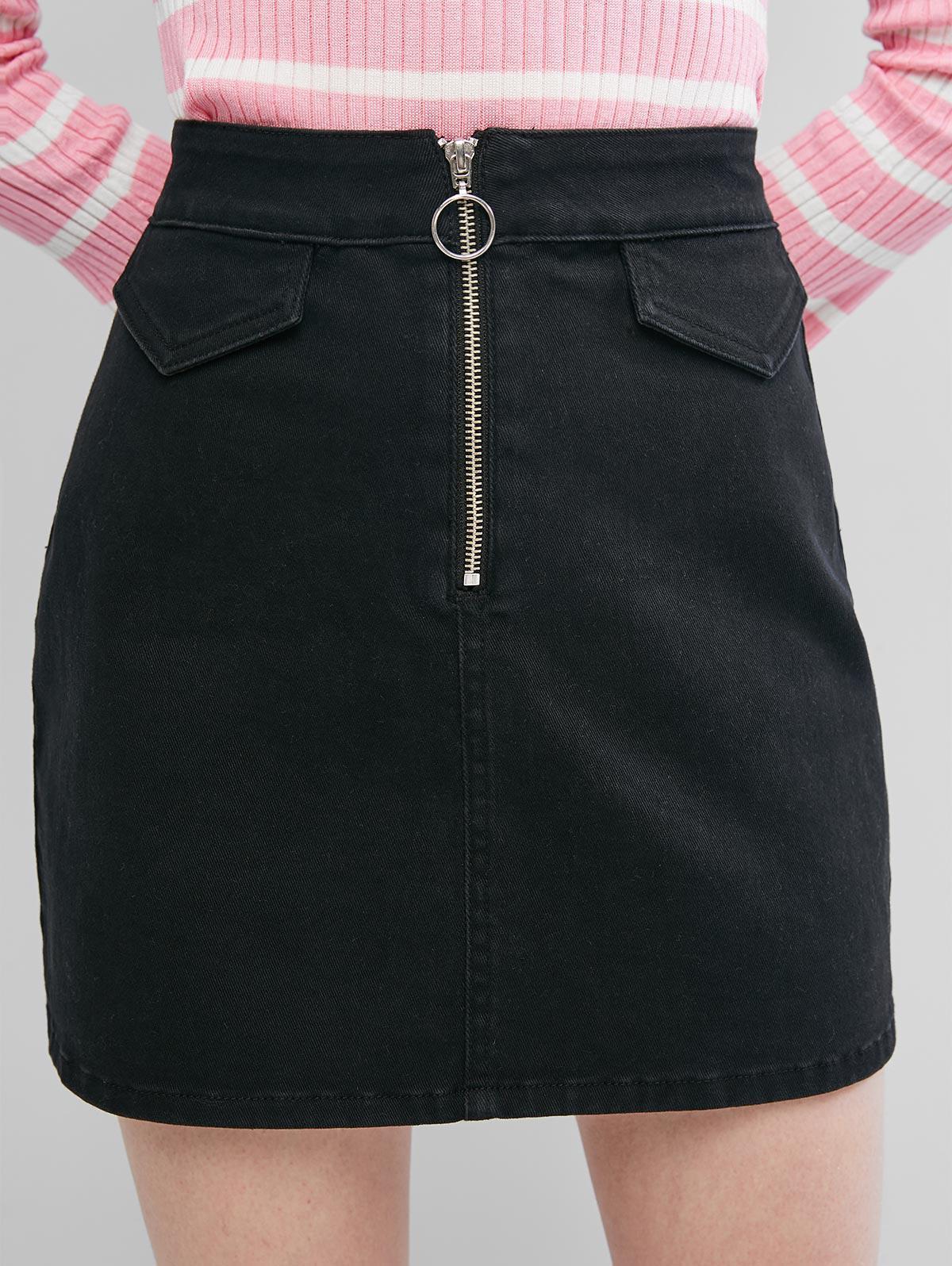 ZAFUL Front Zip Back Pockets Denim Mini Skirt