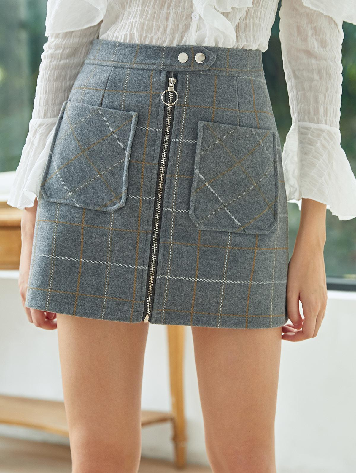 Grid Zip Up Wool Blend Skirt