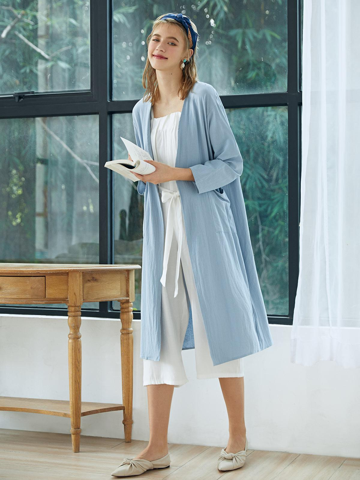 Collarless Open Front Pocket Longline Coat